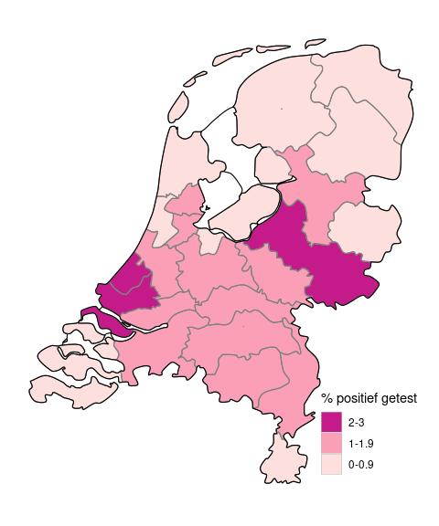 Percentage positieve testen op de GGD testlocaties, per GGD regio, sinds 1 juni