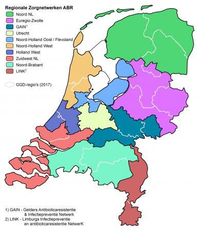 Kaartje met regionale Zorgnetwerken ABR
